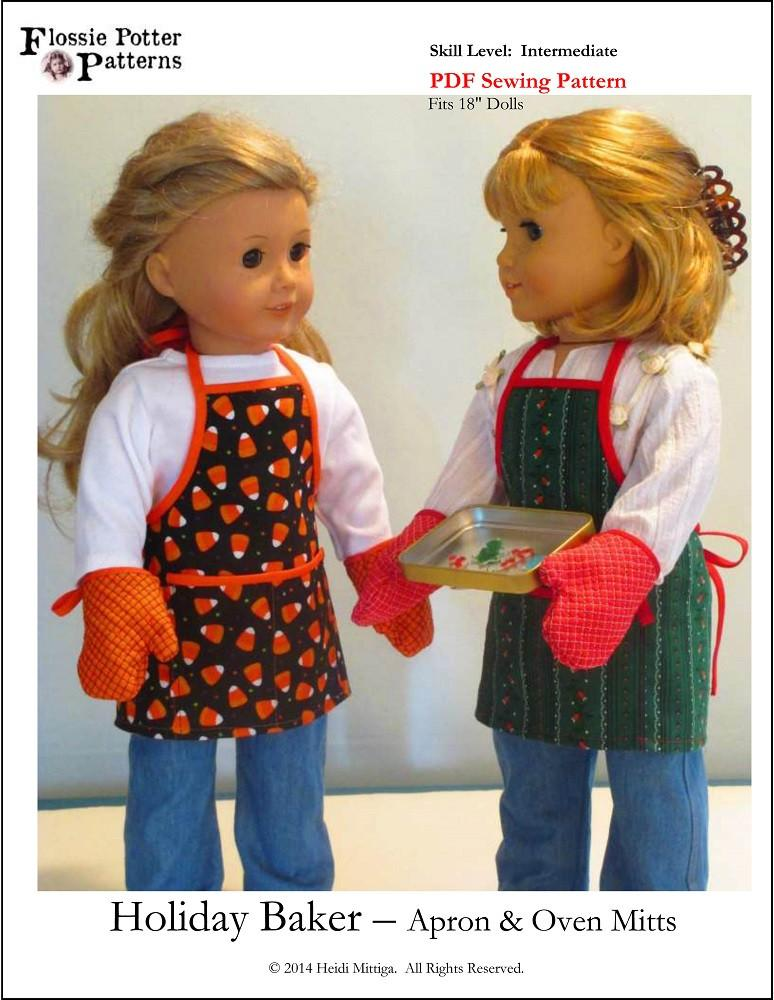 Holiday Baker Apron And Oven Mitts 18 Inch Doll Clothes Pdf Pattern