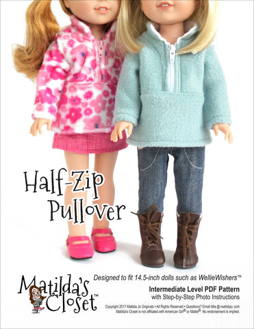 "Matilda's Closet WellieWishers Half Zip Pullover 14.5"" Doll Clothes Pattern Pixie Faire"