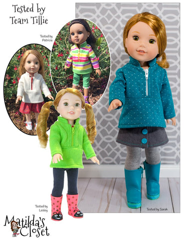 "Half Zip Pullover 14.5"" Doll Clothes Pattern"
