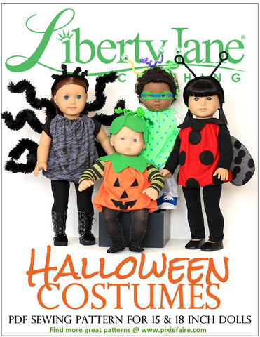 Liberty Jane 18 Inch Modern Halloween Costumes 15-18 inch Doll Clothes Pattern Pixie Faire