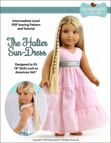 "My Angie Girl 18 Inch Modern Halter Sun-Dress 18"" Doll Clothes Pattern Pixie Faire"