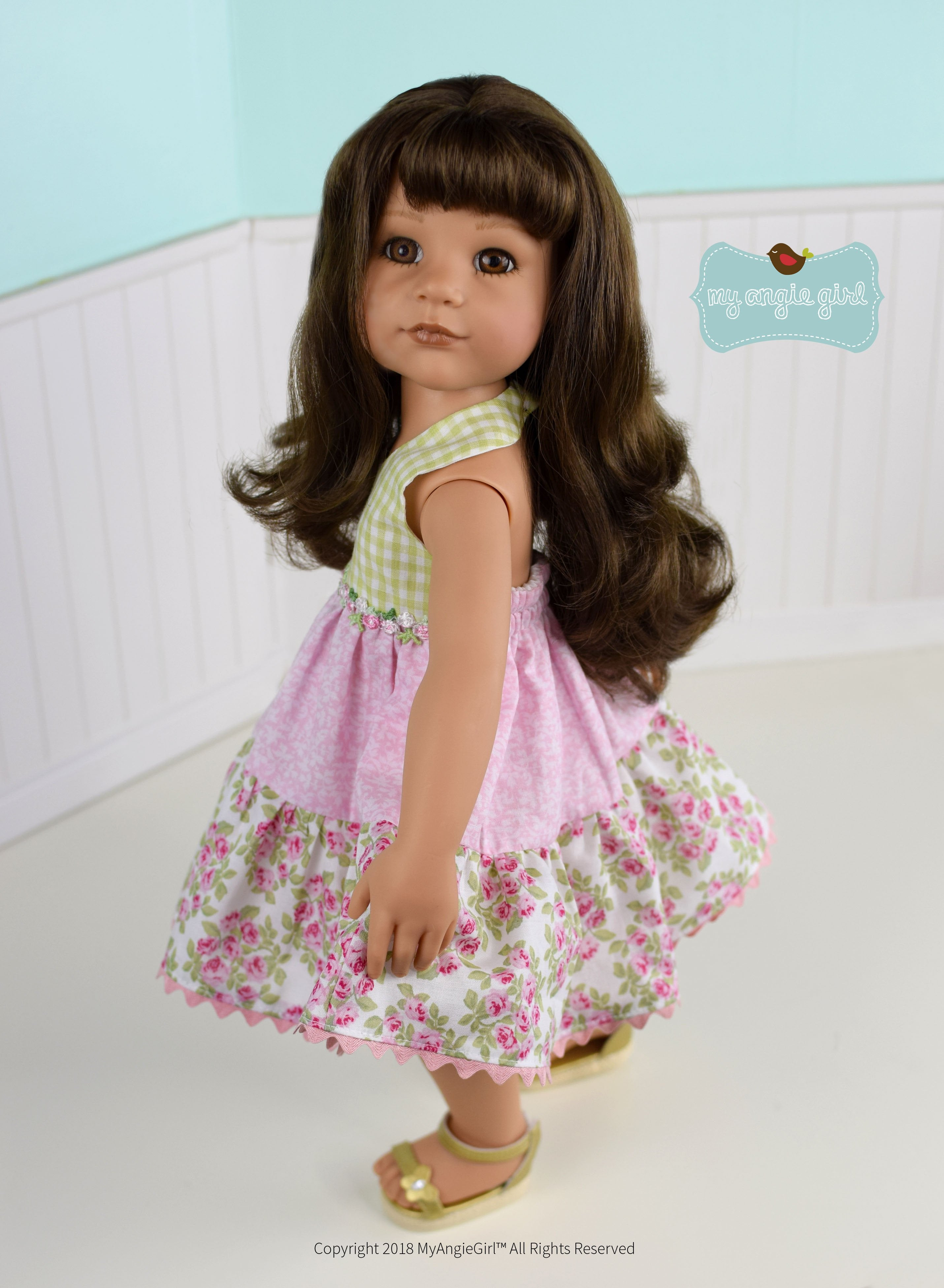 My Angie Girl Halter Sun Dress Doll Clothes Pattern 18 inch American
