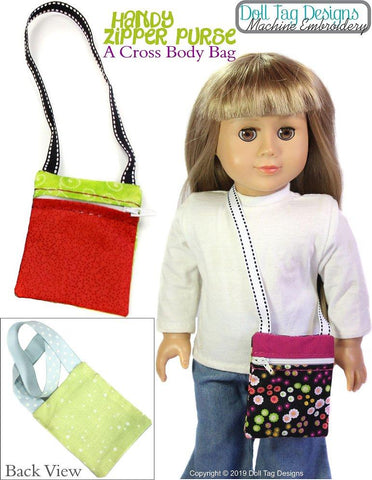 "Handy Zipper Purse 18"" Doll Machine Embroidery Designs"