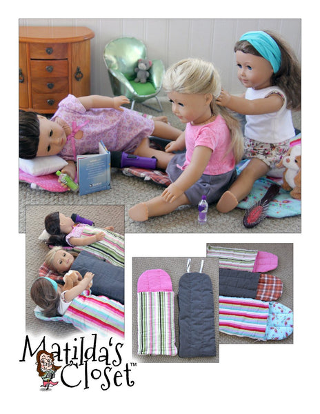 Free Crochet Pattern For American Girl Sleeping Bag : Matildas Closet Happy Campers Sleeping Bags Doll Clothes ...