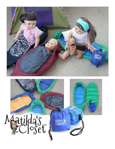 "Happy Campers Sleeping Bags 18"" Doll Accessory Pattern"