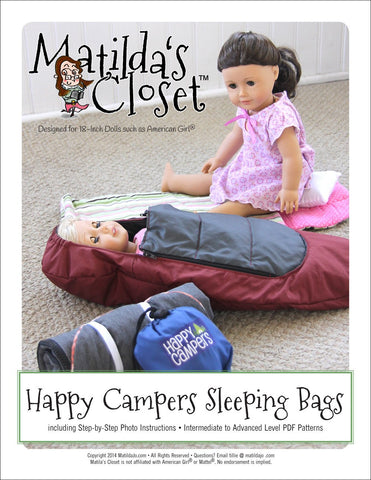 "Matilda's Closet 18 Inch Modern Happy Campers Sleeping Bags 18"" Doll Accessory Pattern Pixie Faire"