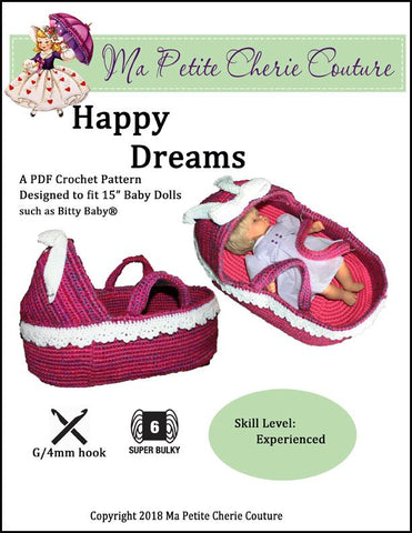Ma Petite cherie Couture Happy Dreams Bassinet PDF doll accessory crochet pattern designed to fit 15 inch Bitty Baby Dolls