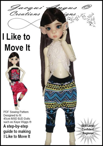 Jacqui Angus Creations & Designs BJD I Like To Move It - Harem Slacks and Jumper Pattern for MSD Ball Jointed Dolls Pixie Faire