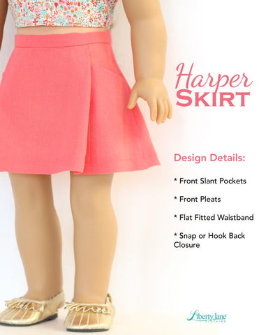 "Harper Skirt 18"" Doll Clothes Pattern"