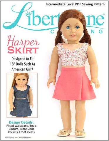 "Liberty Jane 18 Inch Modern Harper Skirt 18"" Doll Clothes Pattern Pixie Faire"