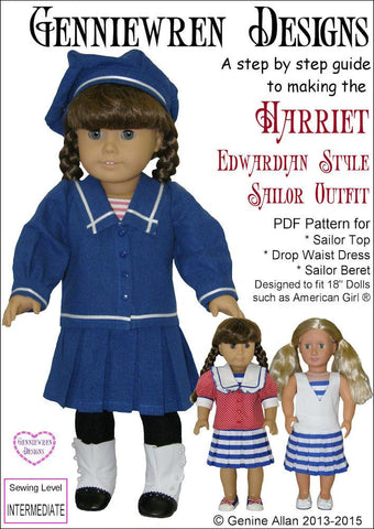 "Genniewren 18 inch Historical Harriet - Edwardian Style Sailor Outfit 18"" Doll Clothes Pattern Pixie Faire"