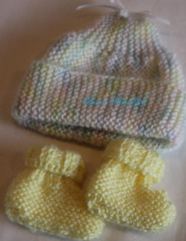Baby Bailey Knit Hat and Booties Knitting Pattern