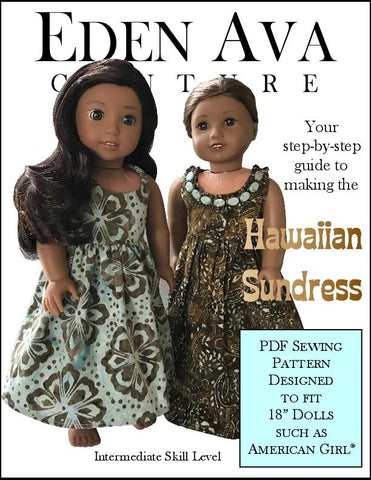 "Eden Ava 18 Inch Modern Hawaiian Sundress 18"" Doll Clothes Pattern Pixie Faire"