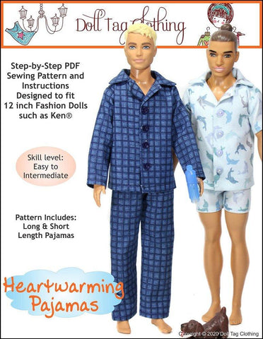 Heartwarming Pajamas PDF Pattern for 12 inch Fashion Dolls