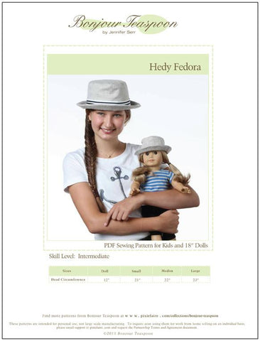 "Hedy Fedora for Kids & 18"" Dolls Pattern Bundle"