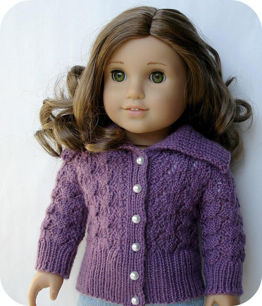 American Girl Doll Cardigan Knitting Pattern : Helena Lace Cardigan Knitting Pattern PDF Pattern Download Pixie Faire