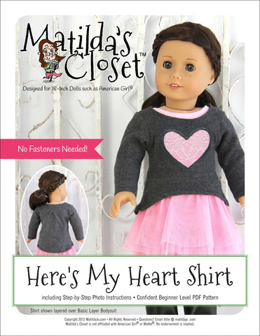 "Matilda's Closet 18 Inch Modern Here's My Heart Shirt 18"" Doll Clothes Pixie Faire"
