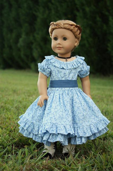 1850 S Summer In Blue Dress 18 Inch Doll Clothes Pattern