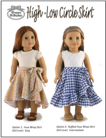 "High-Low Circle Skirt 18"" Doll Clothes"