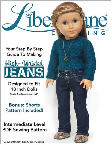 "Liberty Jane 18 Inch Modern High-Waisted Jeans 18"" Doll Clothes Pattern Pixie Faire"