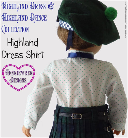 pdf doll clothes sewing pattern genniewren highland dress shirt designed to fit 18 inch American Girl boy dolls