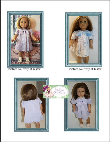 15 and 18 inch doll clothes PDF sewing pattern box pleat dress with bow designed to fit Bitty Baby and American Girl
