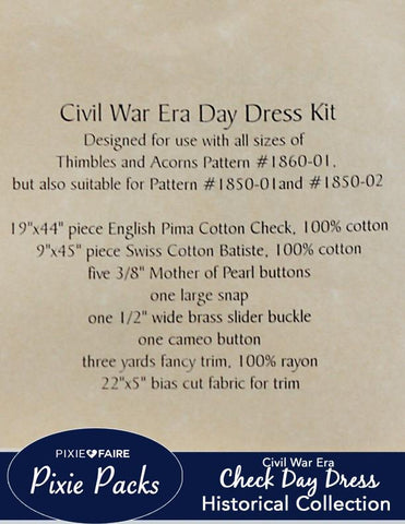 Pixie Packs Historical Collection Civil War Era Dress - Check
