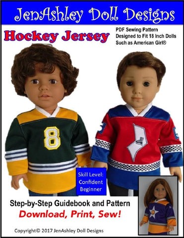 "Jen Ashley Doll Designs 18 Inch Modern Hockey Jersey 18"" Doll Clothes Pattern Pixie Faire"