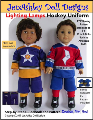 "Jen Ashley Doll Designs 18 Inch Modern Lighting Lamps Hockey Uniform 18"" Doll Clothes Pattern Pixie Faire"