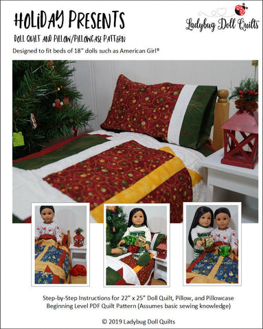 "Ladybug Doll Quilts Quilt Holiday Presents 18"" Doll Quilt Pattern Pixie Faire"