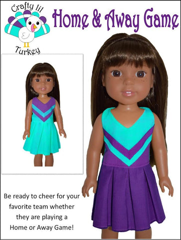 PDF doll clothes sewing pattern home and away game cheerleading outfit designed to fit 14.5 inch WellieWishers dolls