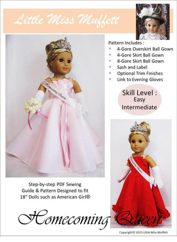 "Homecoming Queen 18"" Doll Clothes Pattern"