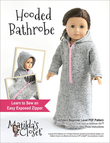"Hooded Bathrobe 18"" Doll Clothes"