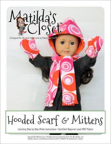 "Matilda's Closet 18 Inch Modern Hooded Scarf & Mittens 18"" Doll Accessories Pixie Faire"