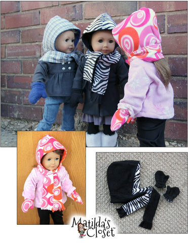 "Hooded Scarf & Mittens 18"" Doll Accessories"