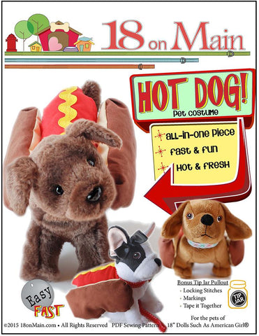 "18 On Main 18 Inch Modern Hot Dog! Pet Costume 18"" Doll Accessory Pattern Pixie Faire"