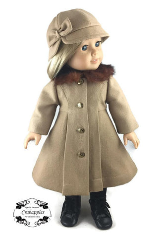 "Crabapples 18 Inch Modern Classic Coat and Classic Hat Bundle 18"" Doll Clothes Pattern Pixie Faire"