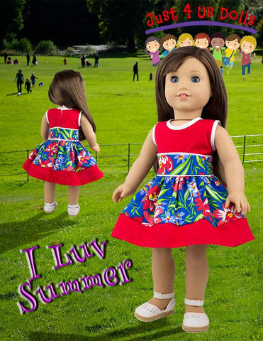 PDF doll clothes sewing pattern summer dress petticoat designed to fit American Girl