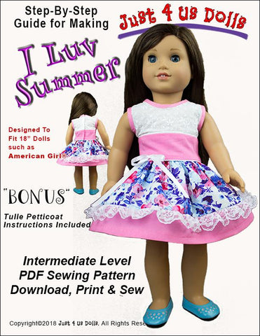 "I Luv Summer 18"" Doll Clothes Pattern"