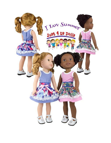 "Just 4 Us Dolls WellieWishers I Luv Summer 14.5"" Doll Clothes Pattern Pixie Faire"