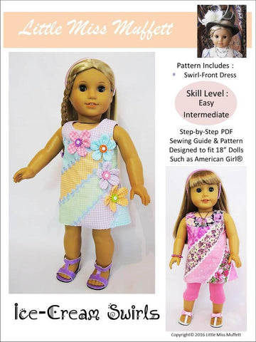 "Ice-Cream Swirls 18"" Doll Clothes Pattern"