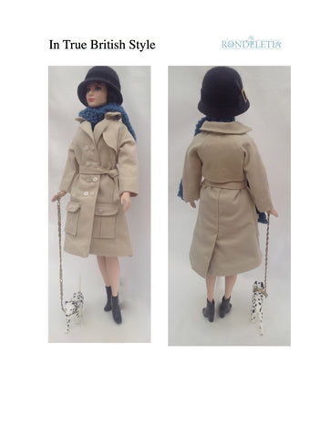 PDF doll clothes sewing pattern In True British Style Trench Coat designed to fit 11-1/2 inch fashion dolls such as Barbie