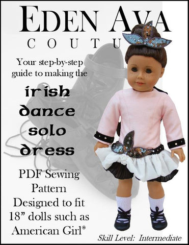 pdf doll clothes sewing pattern Eden Ava irish dance solo dress designed to fit 18 inch American Girl dolls