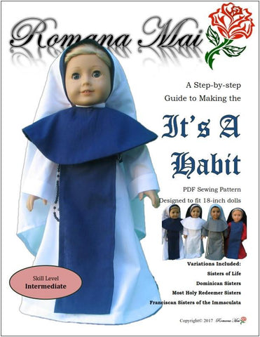 "It's A Habit 18"" Doll Clothes Pattern"