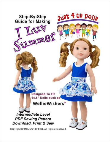pdf doll clothes sewing pattern Just 4 Us Doll I Luv Summer dress designed to fit 14.5 inch WellieWishers dolls