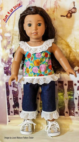 "Lilly's Lacy Top, Shorts, & Capris 18"" Doll Clothes Pattern"