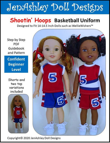 "Shootin' Hoops Basketball Uniform 14-14.5"" Doll Clothes Pattern"