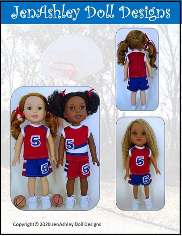 "Jen Ashley Doll Designs WellieWishers Shootin' Hoops Basketball Uniform 14-14.5"" Doll Clothes Pattern Pixie Faire"