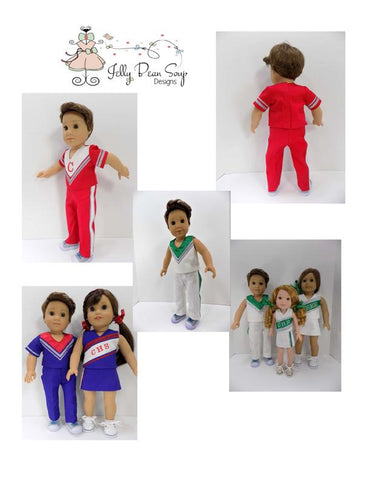 PDF Doll clothes sewing pattern boy cheer cheerleader outfit designed to fit american girl