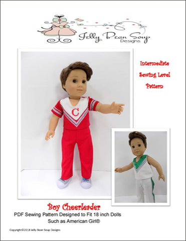 "Jelly Bean Soup Designs 18 inch Boy Doll Boy Cheerleader 18"" Doll Clothes Pattern Pixie Faire"